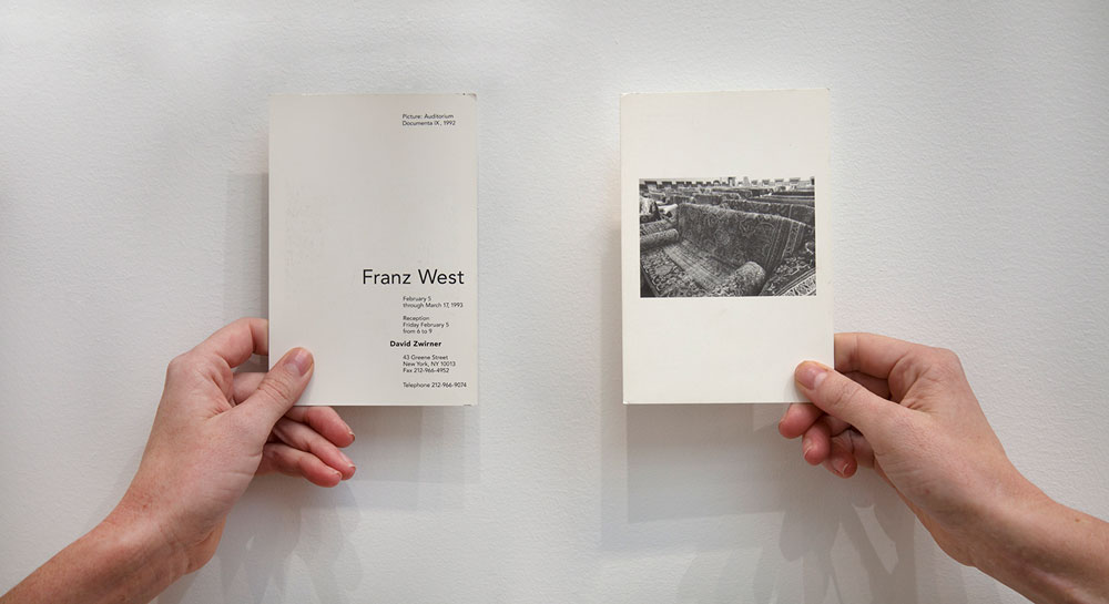 Front and back of showcard for David Zwirner's first exhibition, Franz West: Investigations of American Art, which opened in February 1993 at 43 Greene Street in New York.