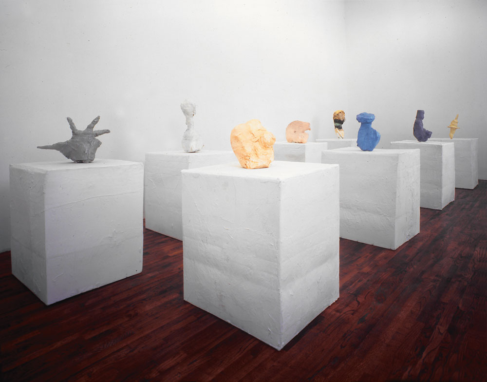 Installation view of the exhibition Franz West: Investigations of American Art at David Zwirner in New York, dated 1993.