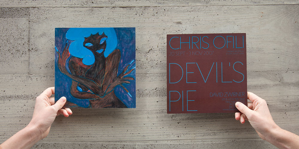 Front and back of showcard for the exhibition Chris Ofili: Devil's Pie at 525 and 533 West 19th Street in New York, dated 2007.