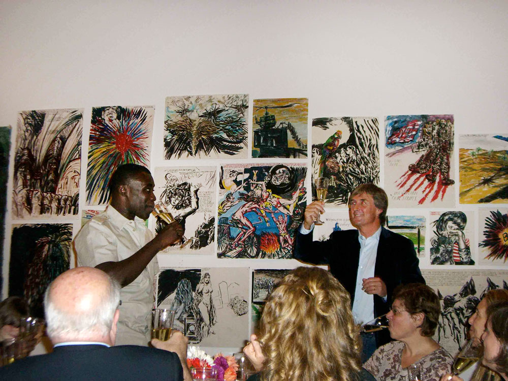 David Zwirner toasting Chris Ofili at the opening of the artist's first gallery solo show, Chris Ofili: Devil's Pie at 525 and 533 West 19th Street in New York, dated 2007.