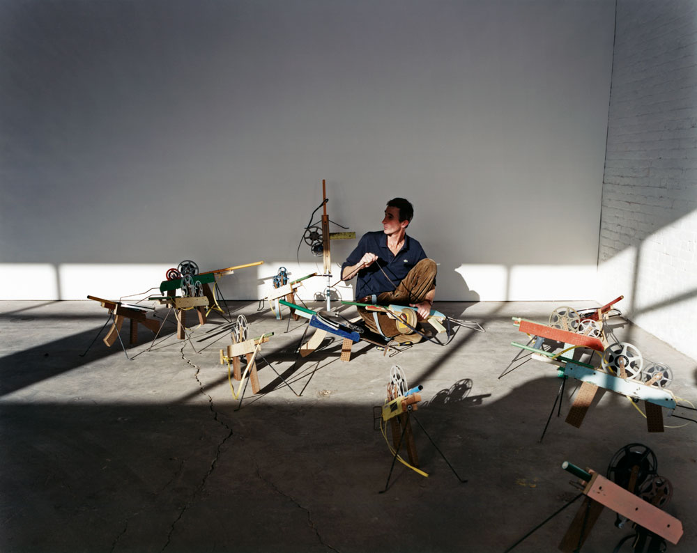 Francis Alÿs during the installation of his first gallery solo show, Francis Alÿs: SOMETIMES DOING SOMETHING POETIC CAN BECOME POLITICAL AND SOMETIMES DOING SOMETHING POLITICAL CAN BECOME POETIC, dated 2007.