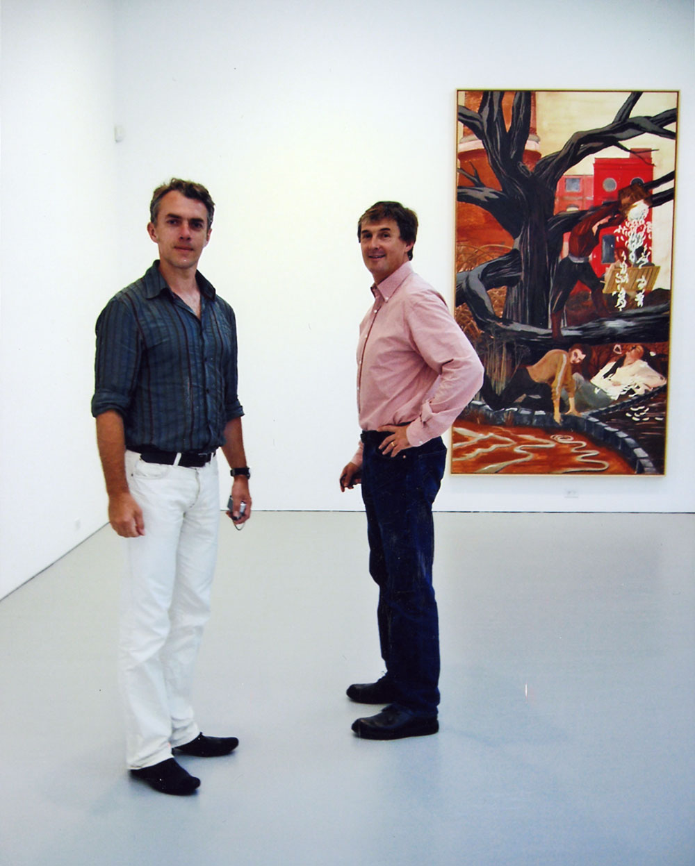 Neo Rauch and David Zwirner during the installation of the exhibition Rosa Loy: 9 Wege at 525 West 19th Street in New York, dated 2006.