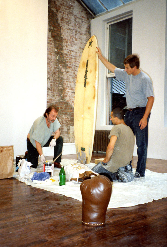 Franz West and David Zwirner working on the sculpture Limerick (1994) for the exhibition Franz West: Home Elements (A Retrospective) at 43 Greene Street in New York, dated 1994.