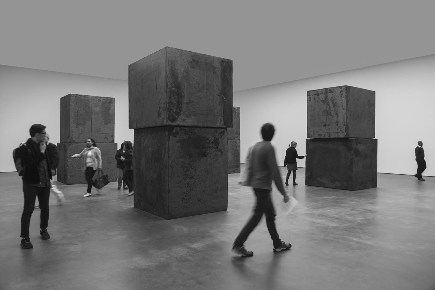Visitors at the exhibition Richard Serra: Equal at 537 West 20th Street, New York in dated 2015.