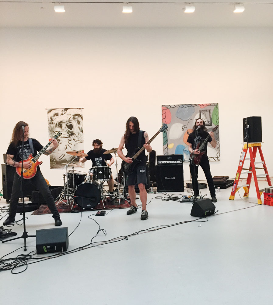 A performance by Anicon, art handler Owen Rundquist's band, for the opening of the exhibition People Who Work Here at 533 West 19th Street in New York, dated 2016.