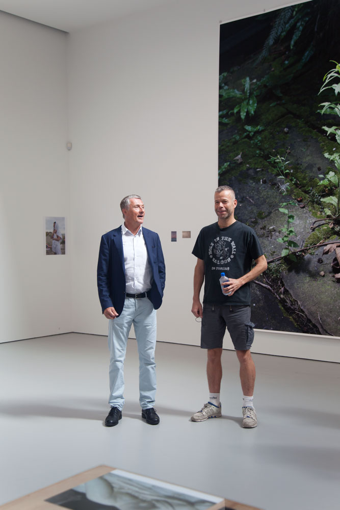 David Zwirner and Wolfgang Tillmans at the press preview for the artist's first gallery solo show, Wolfgang Tillmans: PCR at 525 and 533 West 19th Street in New York, dated 2015.