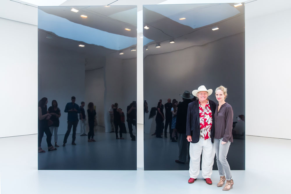 De Wain Valentine and Kristine Bell at the press preview for the exhibition De Wain Valentine: Works from the 1960s and 1970s at 525 and 533 West 19th Street in New York, dated 2015.