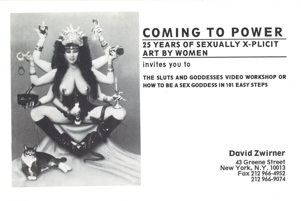 Flyer for the exhibition COMING TO POWER: 25 Years of Sexually X-Plicit Art by Women at 43 Greene Street in New York, dated 1993.