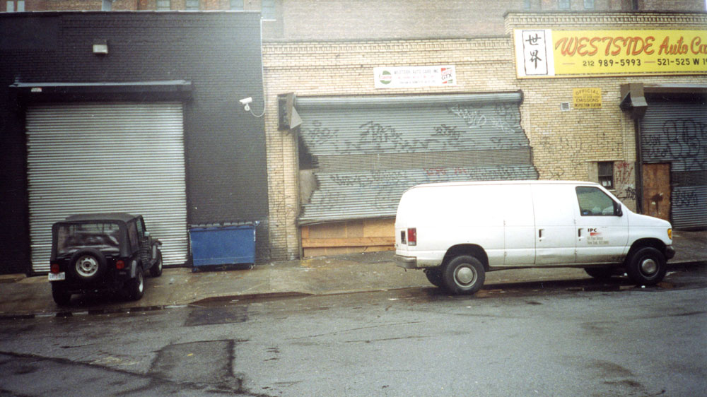 Exterior view of 525 West 19th Street before renovation for the gallery's new location in Chelsea in New York, circa 2002.