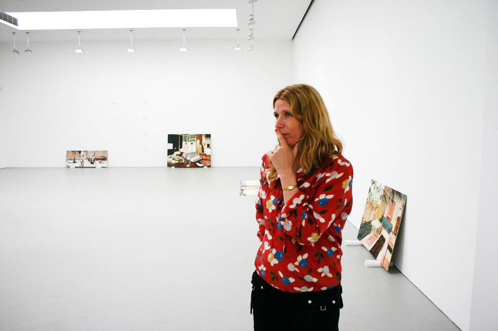 Mamma Andersson during the installation of her first gallery solo show, Mamma Andersson: Rooms Under the Influence at 525 West 19th Street in New York, dated 2006.