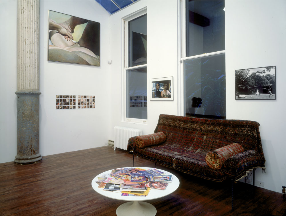 Installation view of the exhibition COMING TO POWER: 25 Years of Sexually X-Plicit Art by Women at 43 Greene Street in New York, dated 1993.