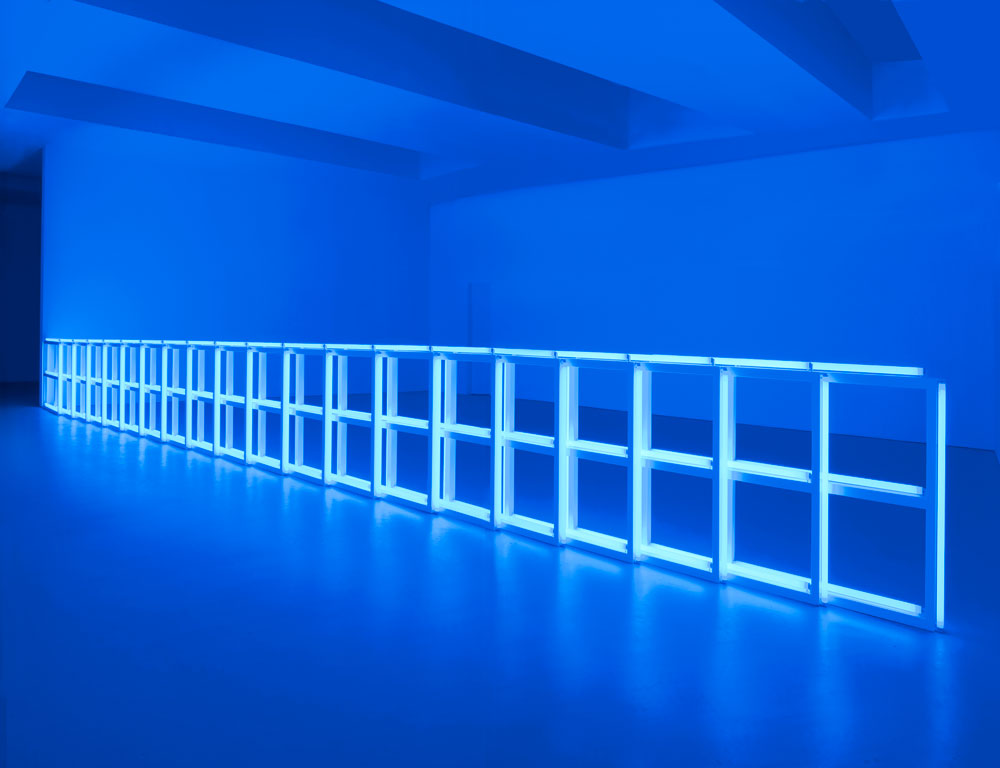 Installation view of the exhibition Dan Flavin: Series and Progressions at 525 West 19th Street in New York, dated 2009.
