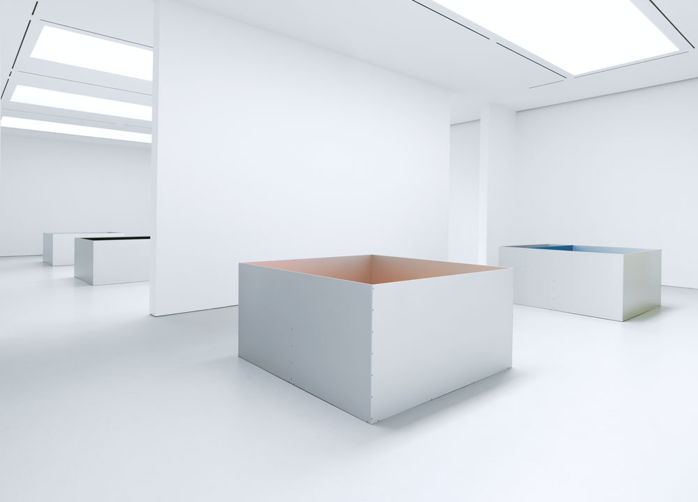 Installation view of the exhibition Donald Judd at 525 and 533 West 19th Street in New York, dated 2011.