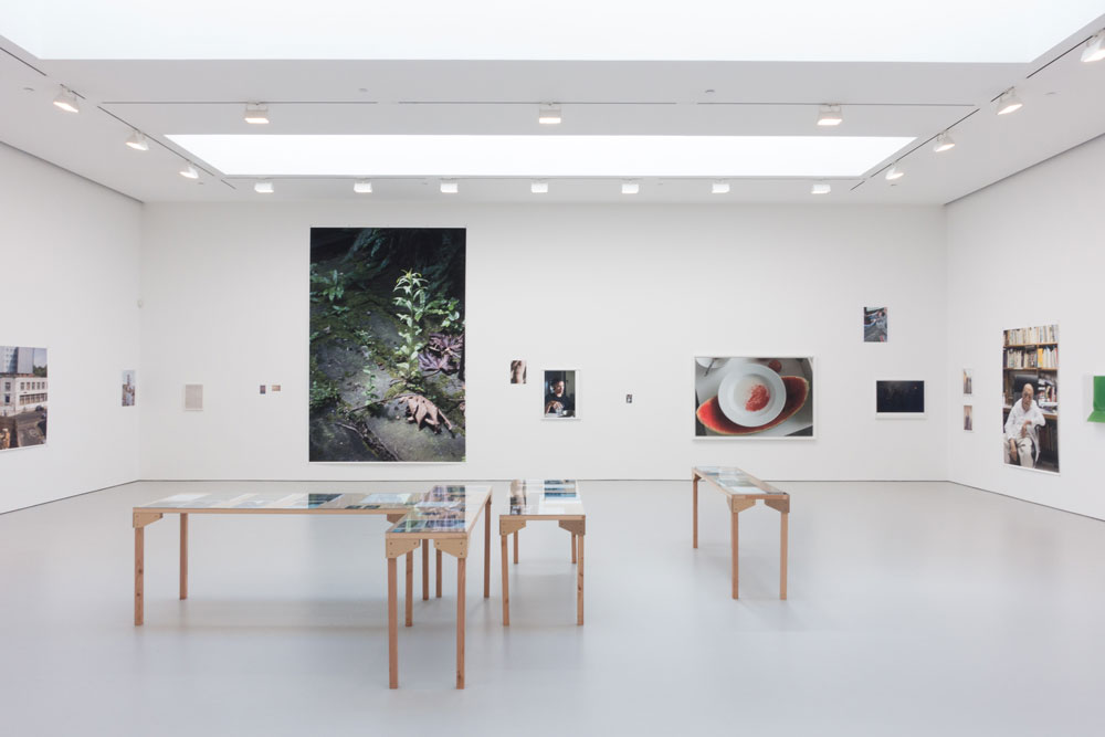 Installation view of the exhibition Wolfgang Tillmans: PCR at 525 and 533 West 19th Street in New York, dated 2015.