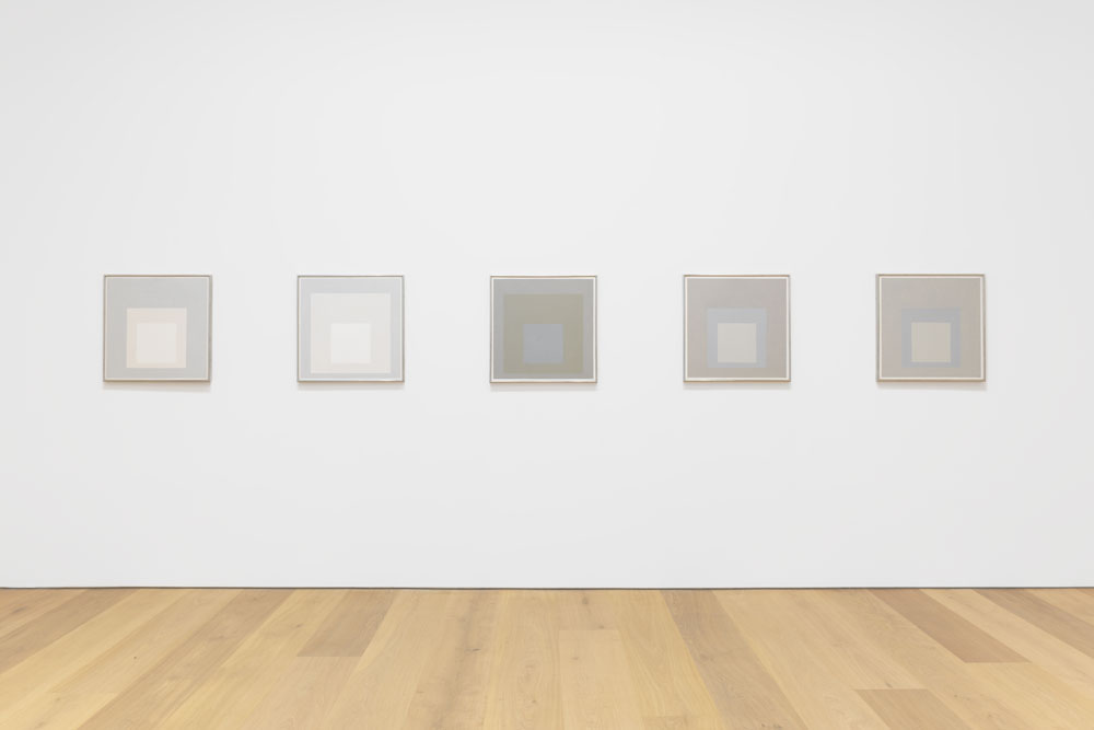Installation view of the exhibition Josef Albers: Grey Steps, Grey Scales, Grey Ladders at 537 West 20th Street in New York, dated 2016.