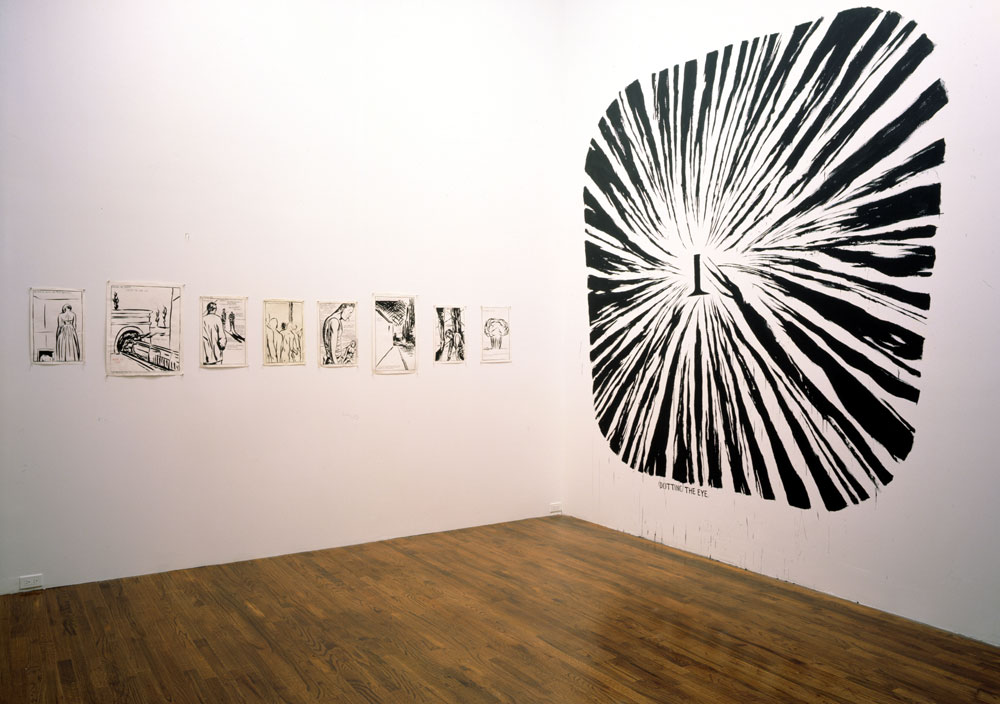 Installation view of the exhibition Raymond Pettibon: Drawings and Wall Drawings at 43 Greene Street in New York, dated 1995.