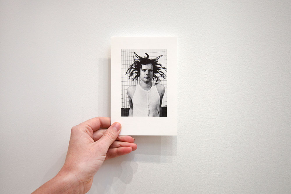 Front of showcard for the exhibition Gordon Matta-Clark at 43 Greene Street in New York, dated 1999, which features an image from the artist's work Hair (dated 1972).