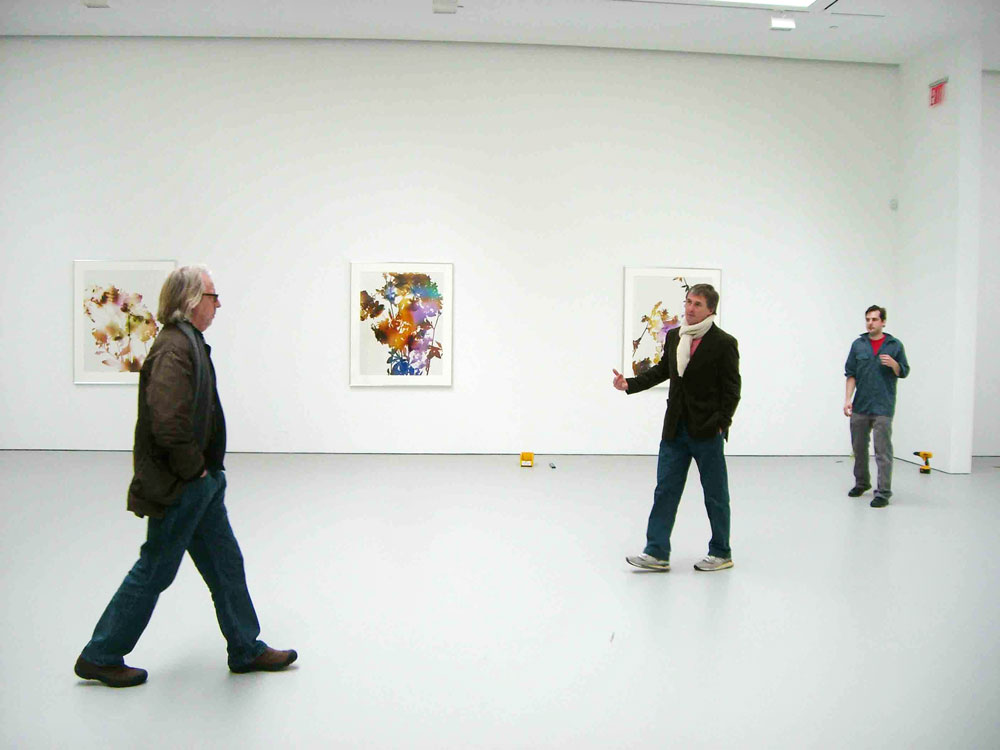 James Welling and David Zwirner during the installation of the artist's second gallery solo show, James Welling at 533 West 19th Street in New York, dated 2007.