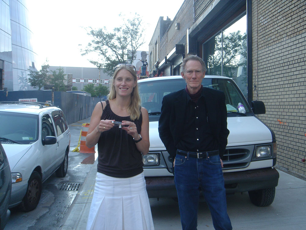 Hanna Schouwink and John McCracken standing on West 19th Street during the installation of John McCracken, the artist's third gallery solo show and the inaugural exhibition at David Zwirner's new space at 533 West 19th Street in New York, dated 2006.
