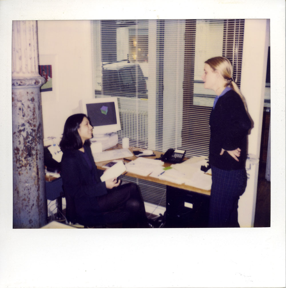 Polaroid of Angela Choon and Hanna Schouwink in back office of 43 Greene Street in New York, circa 1997.
