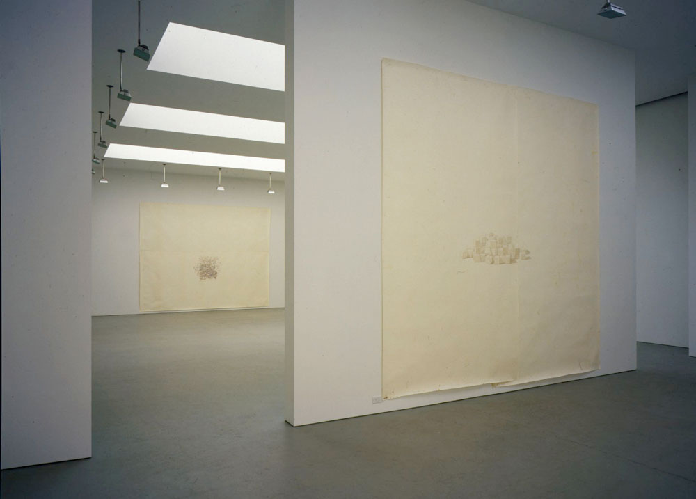 Installation view of the exhibition Toba Khedoori at 525 West 19th Street in New York, dated 2002.