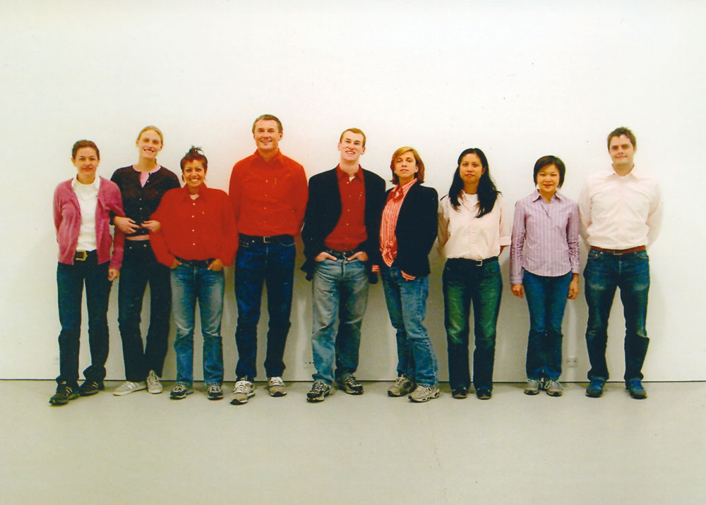 Gallery staff dressing up as David Zwirner for Halloween, circa 2002.