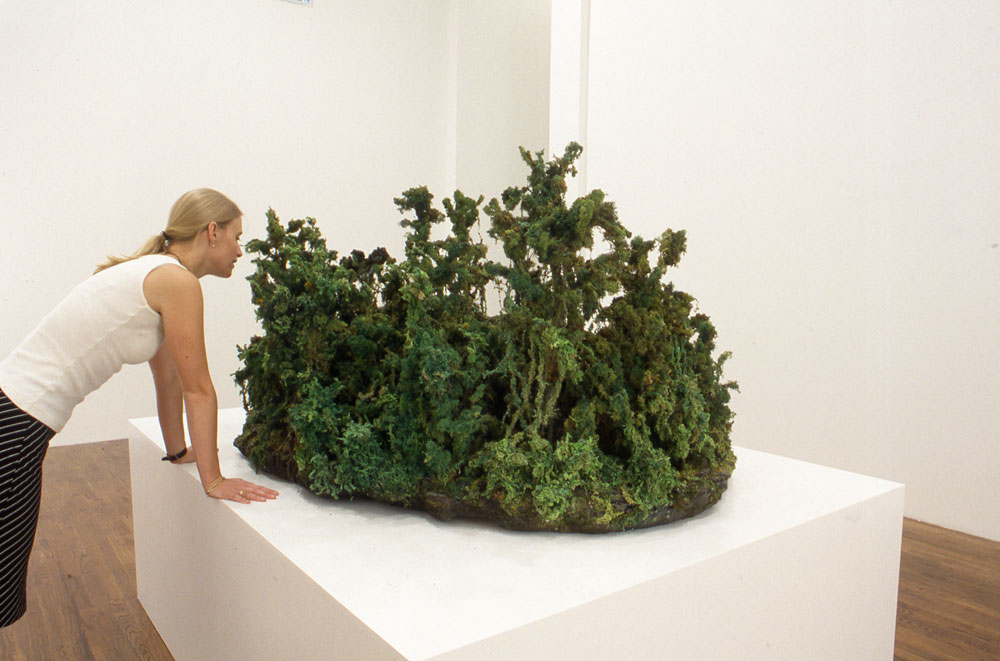 Hanna Schouwink with Yutaka Sone's installation Green Jungle (dated 1999), on view in the exhibition Yutaka Sone at 43 Greene Street in New York, dated 1999.