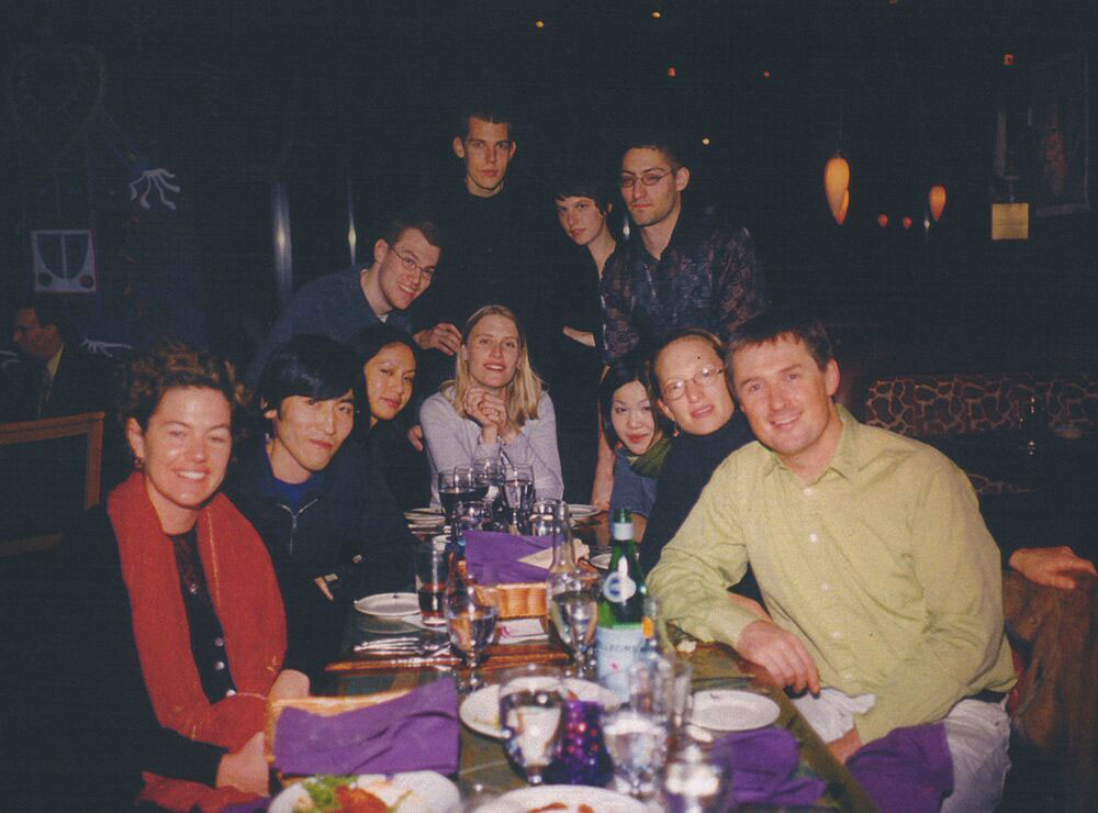 Gallery staff at a holiday dinner, circa 2000.