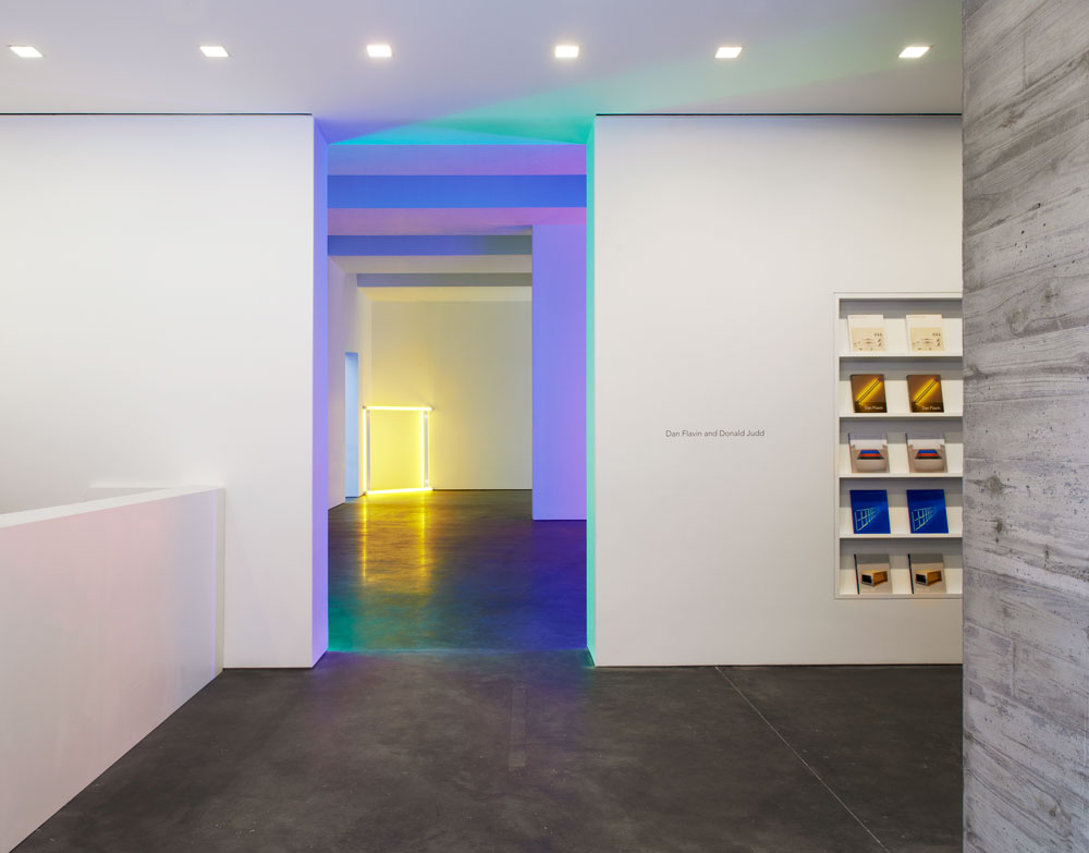 Interior view of the entrance at 537 West 20th Street in New York, during Dan Flavin and Donald Judd, dated 2013.