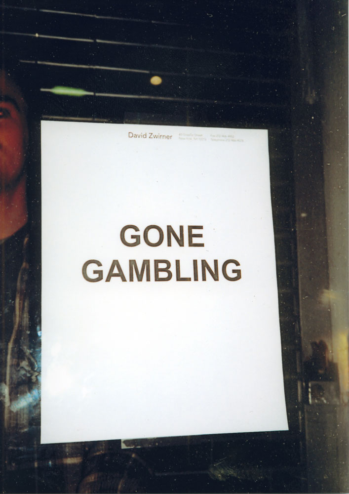 An out-of-office sign on the front door during a gallery trip to Las Vegas, circa 1999.