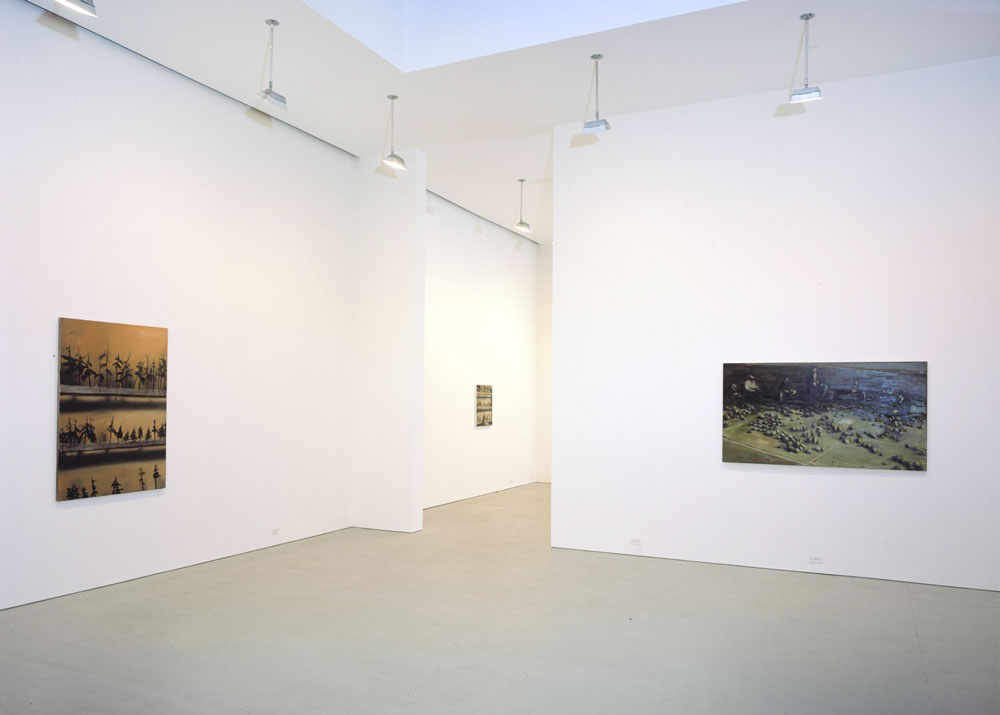 Installation view of the exhibition Michaël Borremans: Trickland at 525 West 19th Street in New York, dated 2003.