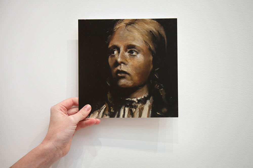 Front of showcard for the exhibition, Michaël Borremans: Trickland at 525 West 19th Street in New York, dated 2003.