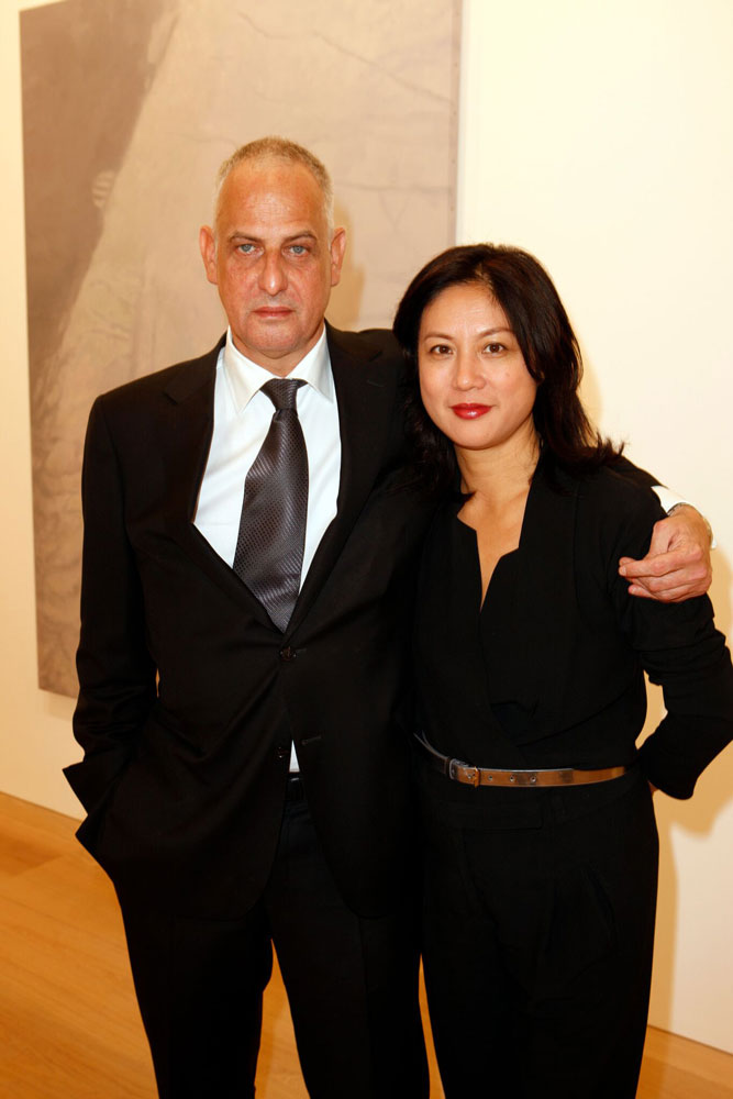 Luc Tuymans and Angela Choon at the opening of the exhibition Luc Tuymans: Allo! at 24 Grafton Street in London, dated 2012.