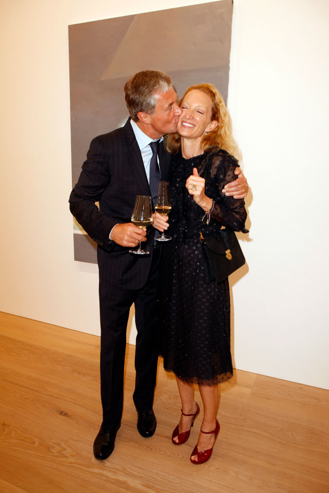 David and Monica Zwirner celebrating at the opening of the exhibition Luc Tuymans: Allo! at 24 Grafton Street in London, dated 2012.