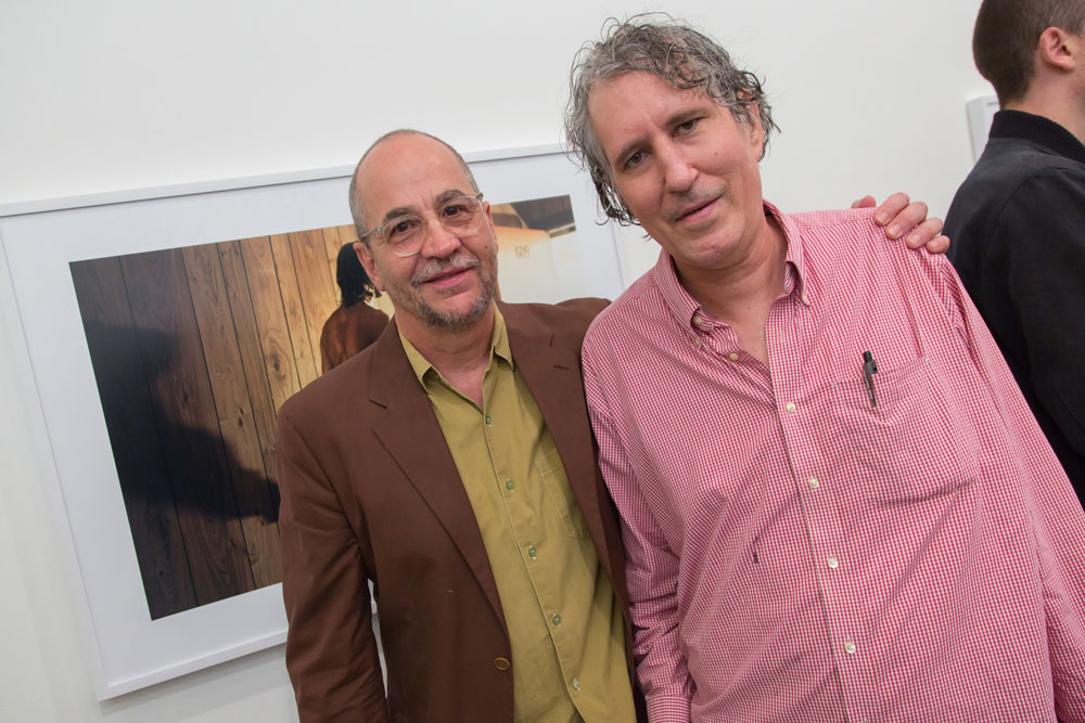 Philip-Lorca diCorcia and Raymond Pettibon at the joint opening of the exhibitions Philip-Lorca diCorcia: Hustlers at 525 and 533 West 19th Street, and Raymond Pettibon: To Wit at 519 West 19th Street in New York, dated 2013.