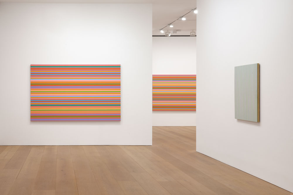 Installation view of the exhibition Bridget Riley: The Stripe Paintings 1961 to 2014 at 24 Grafton Street in London, dated 2014.