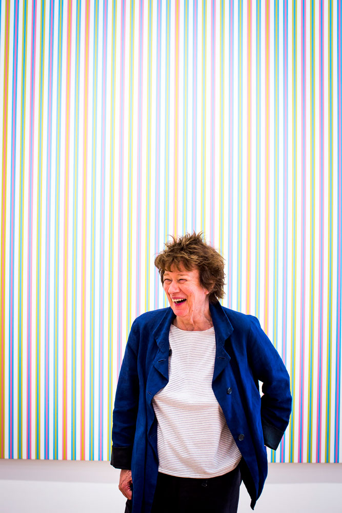 A photograph of Bridget Riley, dated 2015.