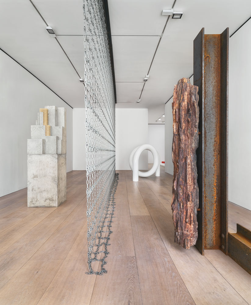 Installation view of the exhibition Carol Bove: The Plastic Unit at 24 Grafton Street in London, dated 2015.