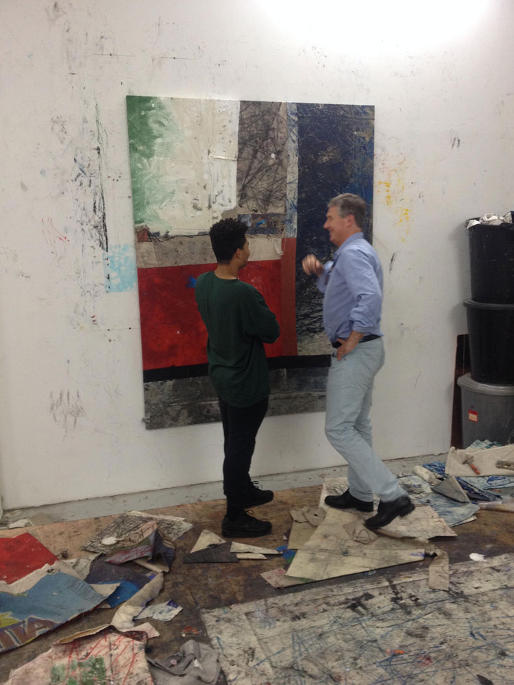 David Zwirner visiting Oscar Murillo's studio, dated 2013.