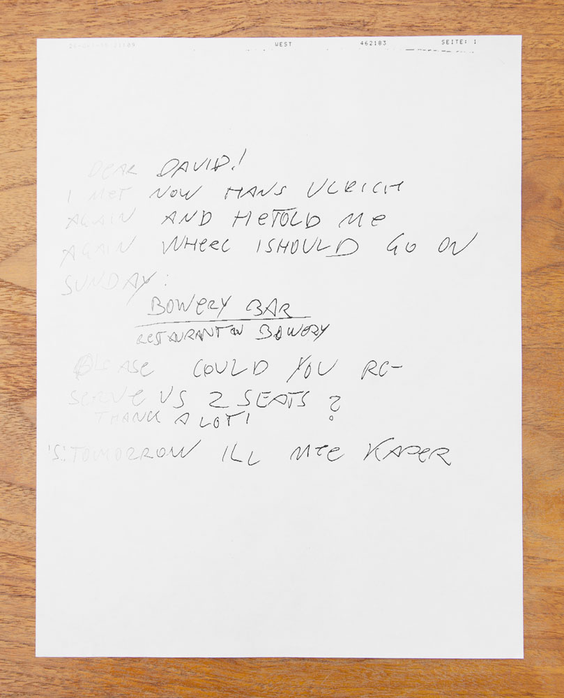 Fax from Franz West to David Zwirner arranging a Bowery Bar meeting, dated 1995.