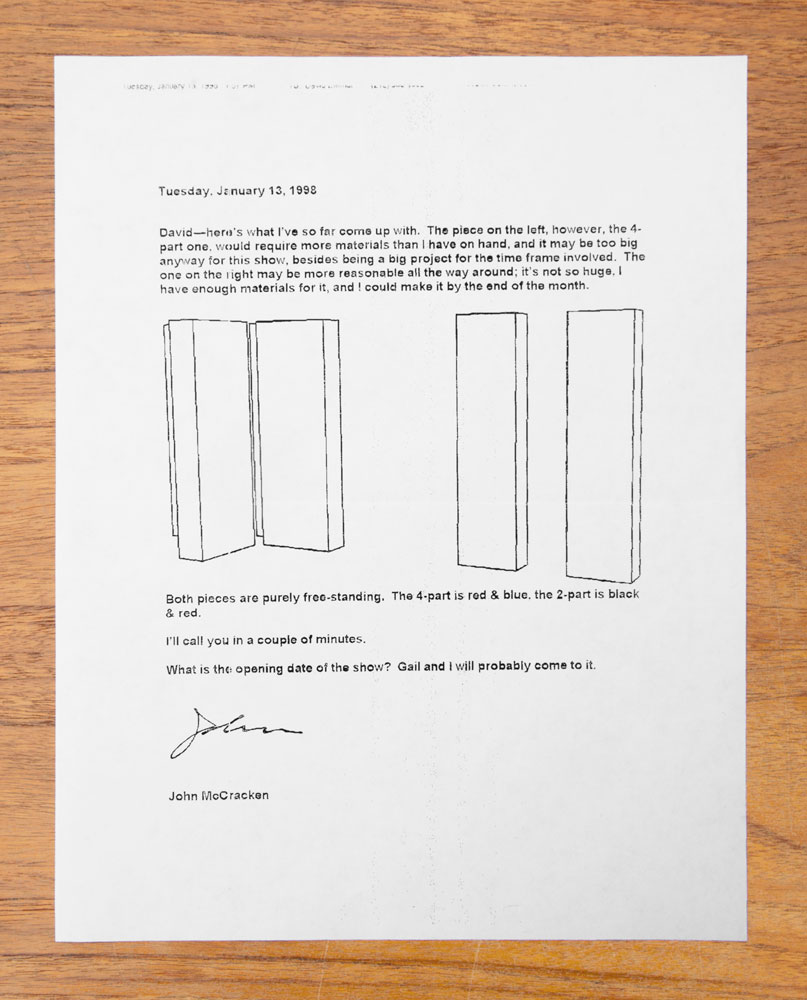 A fax to David Zwirner from John McCracken proposing a work for the five-year anniversary show, dated 1998.