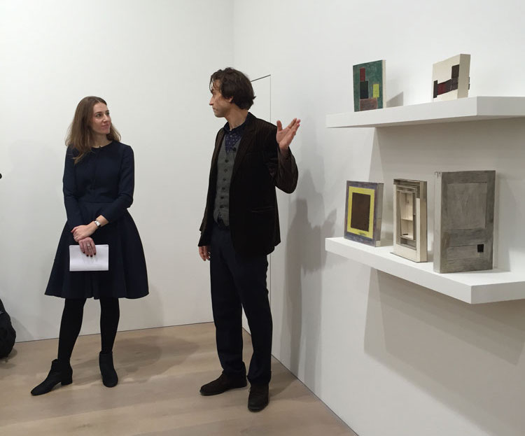 Sales Director Justine Durrett and Jockum Nordström at the opening of the exhibition For the insects and the hounds at 24 Grafton Street in London, dated 2015.
