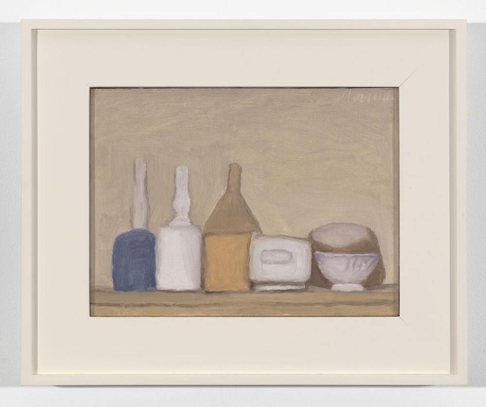 A painting by Giorgio Morandi, titled Natura morta (Still Life), dated 1947.