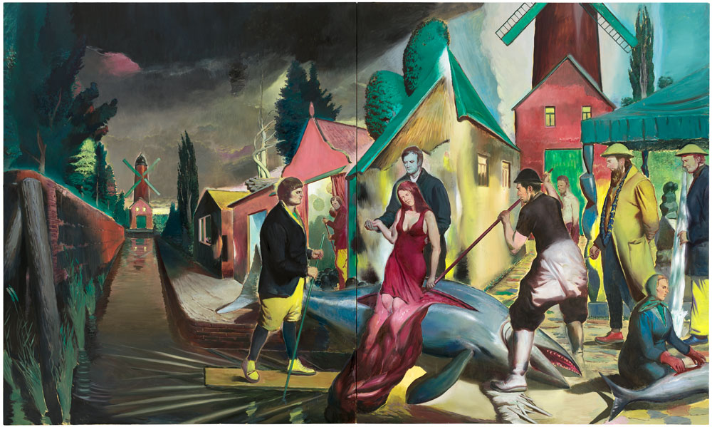 A painting by Neo Rauch, titled Der Blaue Fisch, dated 2014.