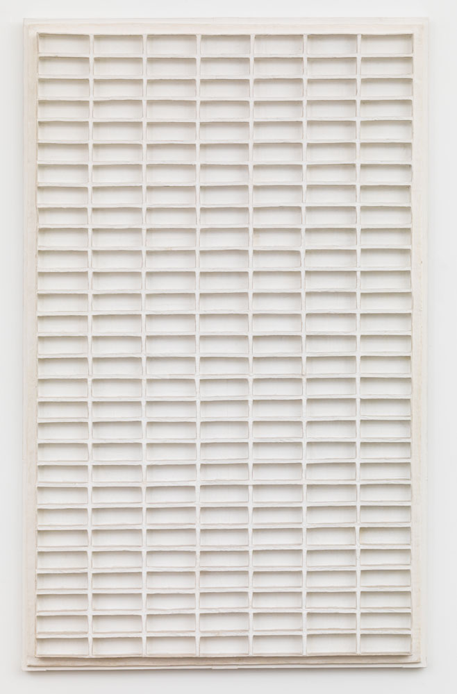 Acrylic on a papier-mâché relief on plywood by Jan Schoonhoven, titled R69-36, dated 1969.