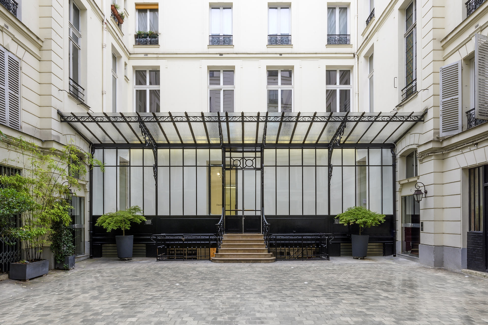 A photograph by Charles Duprat of the exterior of 108, rue Vieille du Temple, David Zwirner's Paris location.