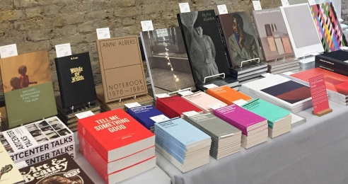 A photograph of the David Zwirner Books booth at London Art Book Fair in 2018.