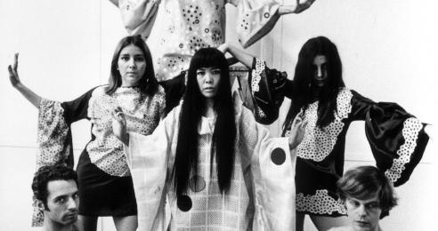 An archival photo of Yayoi Kusama.