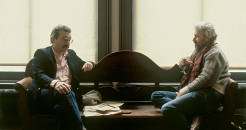 A photograph of Gianfranco Verna with Donald Judd, dated 1984.