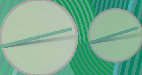 A detail from a painting by Tomma Abts, titled Schwiddo, dated 2008.